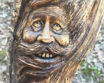 Wood Spirit Carving, Hand Carved Wood Art, by Josh Carte, Wall Sculpture, Perfect Wood Gift, OOAK Original Art, Old Man, Beard Carving, Face