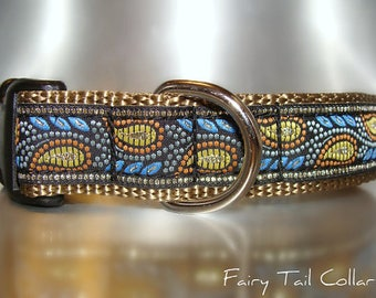 "Blue Vine dog collar 1"" Quick Release buckle OR Martingale collar adjustable / no brass hardware"