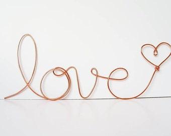 """Soft cursive """"love"""" wall phrase Copper or Brass wire sign"""