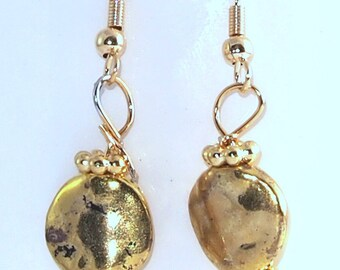 Gold Metal Coin Earrings