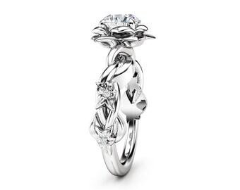 Unique Engagement Ring Moissanite Engagement Ring White Gold Ring Unique Moissanite Ring