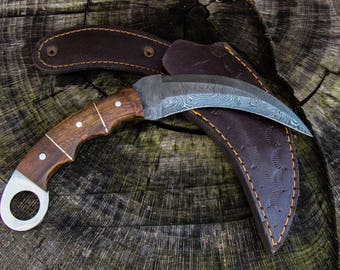 "9"" Inch Hand Made Forged Karambit Damascus Hunting Knife Walnut Handle Outdoor Survival With Leather Sheath Double Edge Fathers day gift"