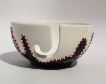 Yarn Bowl, Crochet bowl, knitting bowl, yarn bowl pottery, Ceramic Yarn Bowl, Textile Arts, Bowl, white,red, black, rhinestones, OOAK