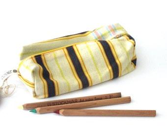 Pencil bag, Zippered Pencil Pouch, Yellow, Gold and Blue Stripes Kikoy Pencil Bag, Pen Bag