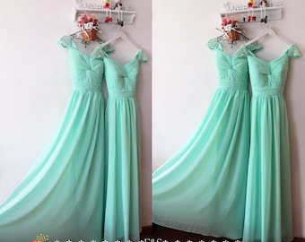 Mint Prom Dress 2015,Prom Dresses,Mint Evening Chiffon Dress,Chiffon Long Mint Bridesmaid Dress,Prom Dress Evening,Long Mint Prom Dress 2015