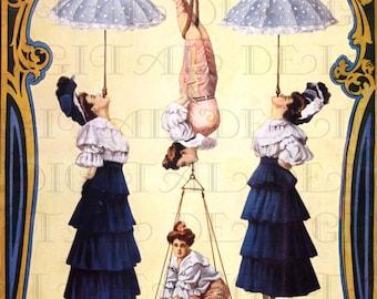 Strange Odd Antique CIRCUS Poster. Vintage Female Aerialists Illustration. Vintage Circus Digital DOWNLOAD. Vintage Circus Print.