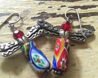 Beautiful handmade angel earrings! One of a kind folk art! Free ship!