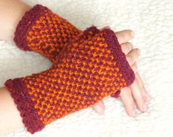 Hand knit gloves, Knit fingerless glove mittens, wool gloves, Knit arm warmers, Knit wrist warmers, Wool knit fingerless glove