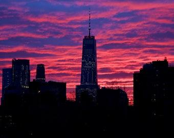 Sunset over New York City. USA