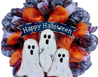 Happy Halloween Ghostly Trio Deco Mesh Wreath