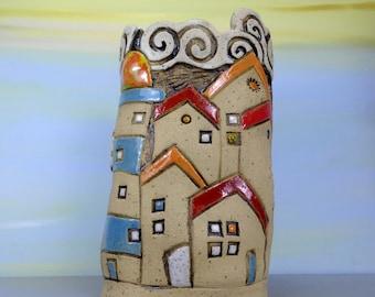 Vase, Ceramic vase, Colorful vase, Ceramic vassal, Flower vase, Rustic vase, Rustic home decor, Anniversary gift, Ceramics and pottery, Home