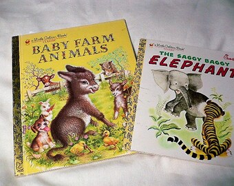 Little Golden Books, set of 2 -  Baby Farm Animals, 1987 Illustrator Garth Williams. The Saggy Baggy Elephant, 1974 Illustrator Tenggren