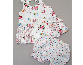 Baby dress and diaper cover sewing pattern - SUNNY DRESS & BLOOMERS - baby girls dress pdf sewing pattern sizes 6 months to 6 years