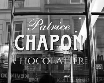 Fine art black & white photograph of the window of Patrice Chapon's Parisian chocolatier shop in Paris, France. Free Shipping in the U.S.
