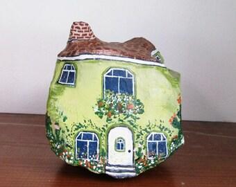 Cute Painted Rock Cottage, House, Paperweight, Doorstop, Garden Art, Secret Garden, Fairy Garden, Rock Garden