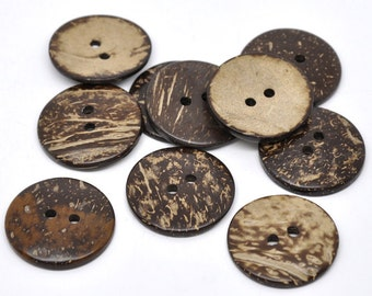 20 Brown Coconut Shell Sewing Buttons 38mm