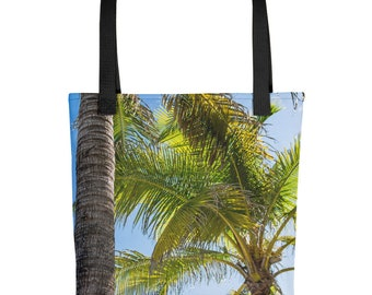 Palm Tree Tote Bag, Beach Lovers Gift, Beautiful Tropical Fabric, Unique Nature, Washable, Casual Overnight Handbag for Girls, Ladies, Women