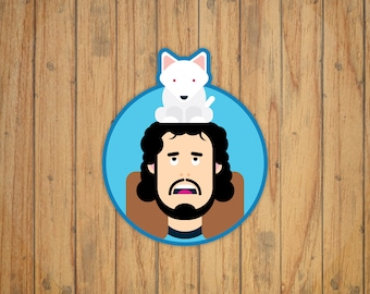 Jon Snow & Ghost (Game of Thrones) Simplistic Vector Illustration Decal/Sticker/Magnet