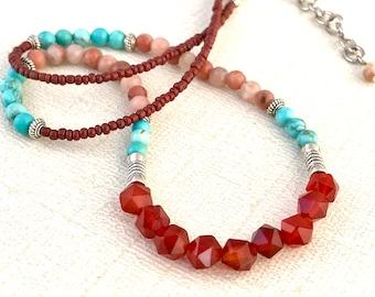 Citrine, Turquoise and Pink Lapisolite Gemstone necklace Natural stone jewelry Semiprecious gemstones Adorn she jewelry Empath jewelry