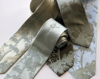 Wedding Tie Set. 5 groomsmen neckties, 20% group discount. Leaf print and more! Matching screenprinted vegan-safe microfiber ties.