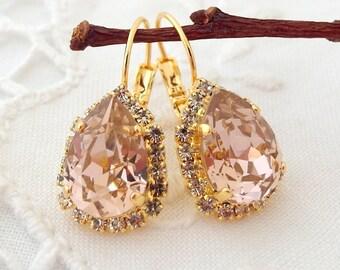 Blush earrings,Blush Pink drop earrings,Blush pink bridal earrings,blush pink bridesmaid earring,Swarovski,blush pink wedding,crystal