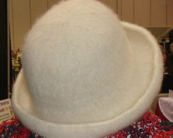 Felted Hat Hand Knit Winter White Wool OOAK Small