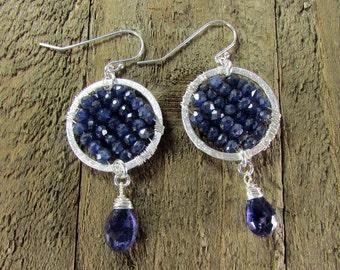 Iolite Gemstone & Sterling Silver Wire Wrapped Hoop Earrings