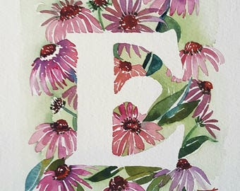 E is for Echinacea   - 8×10 Original watercolor