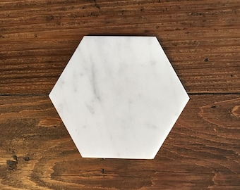 Hexagon Coasters in White Marble, Geometric Design, White Carrara