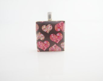 Pink Hearts Scrabble Necklace - Colorful hearts on a brown backgound, Scrabble Tile Heart Pendant on Sterling Silver 925 bail and chain