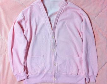 80s Vintage Pink Cardigan, Vintage Light Pink Cardigan, Pastel Pink Cardigan, Vintage Cardigan, Light Pastel Pink Cardigan Sweater