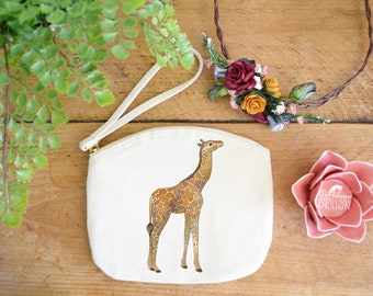 Giraffe Canvas Zip Bag, Makeup Bag, Coin Purse, Small Accessory Pouch, Stocking Filler, Giraffe Gift