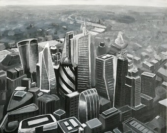 "London skyline original painting, acrylics on canvas black and white 19.7""x19.7"""