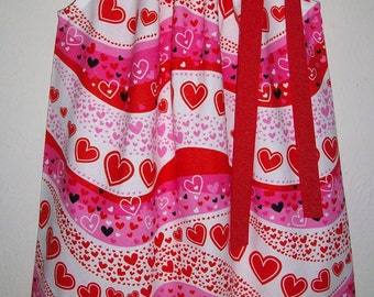 Pillowcase Dress with Hearts Girls Dress Heart Theme Birthday Kids Clothes Valentines Day Dress Valentines Outfit Toddler Dress Baby Dress