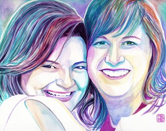 LESBIAN WEDDING GIFT, custom lesbian gift, lesbian girlfriend gift, gift for lesbian couple, lesbian anniversary, women custom portrait, art