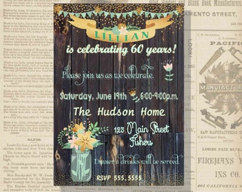 Digital Rustic Floral Mason Jars Birthday Invitation Personalized Printable Any Age 30 40 50 60 70 80 90 100