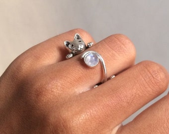 Cat Ring with Rainbow Moonstone| Moonstone Silver Ring | Bague chat argent | Opal ring