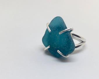Rare Turquoise Blue Sea Glass Ring