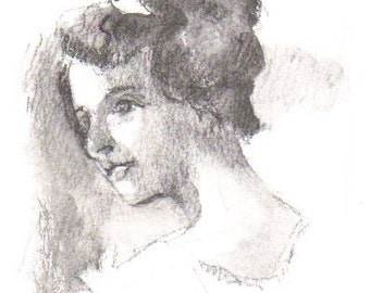 ACEO Portrait of a Lady Original Pencil and Wash, Victorian Portrait, Female Figure, Miniature Art