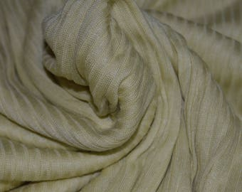 """Pale Maize Tissue-weight Ribbed Stretch Knit Fabric 56"""" W"""