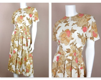 Vintage 1950 1960s Dress / Box Pleated Skirt / Summer Wedding / Pink Brown White / Short Sleeves / Sz L Large  Volup