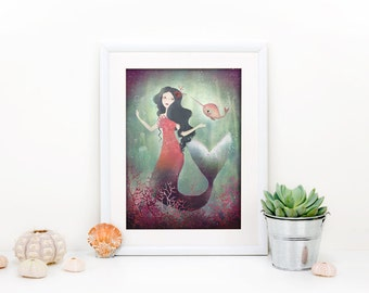 Underwater Friends 4/100 - Mermaid and Narwhal - Deluxe Edition Print - Whimsical Art