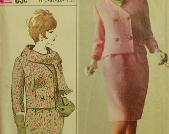 """Double-Breasted Suit - 1960's- Simplicity Pattern 6312  Size 16  Bust  36"""""""