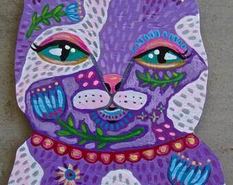 Original Whimsical Kitty Cat Folk Art Plaque Painting