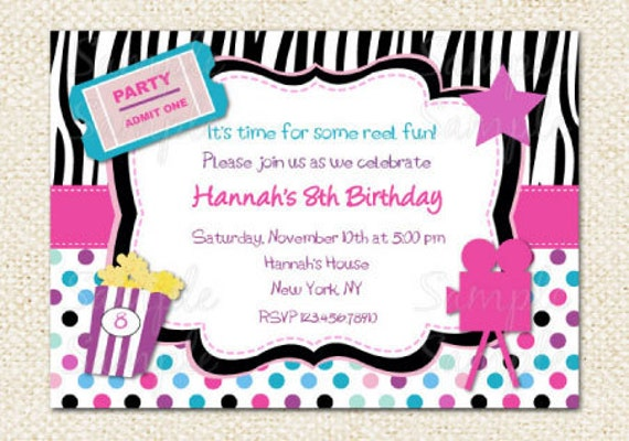 Movie Birthday Invitations Movie Night Birthday Party