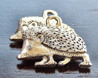 Pewter Hedgehog 17x14mm Charm : 2 pc Hedgehog Charm