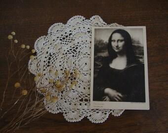 Vintage MONA LISA Photo POSTCARD Correspondence - Leonard de Vinci - Black & White Photography - Souvenir - Travel - Memorabilia