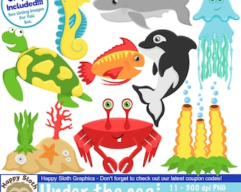 Under The Sea clipart set, personal and commercial use vector Sealife digital clip art set.