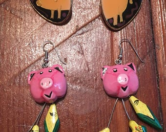 2 Pairs od Pigs - Retro Earrings