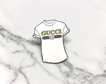 Vintage tshirt Pin, High Fashion Tee Shirt Pin, Vintage White Tee Shirt Pin, Gucci Print Shirt, Gift for her, Gift for him, Luxury Tee,gucci